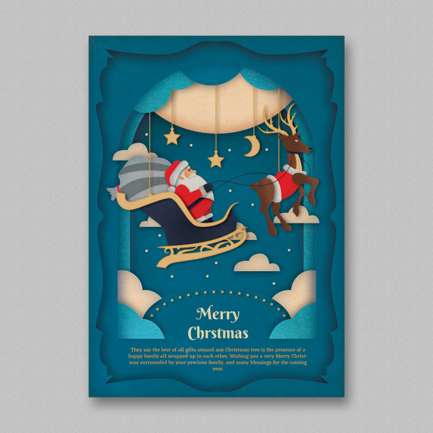 Christmas Paper Art Flyer Template Free Psd files Christmas 2019