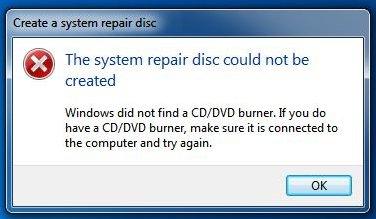 Create system repair disc error window