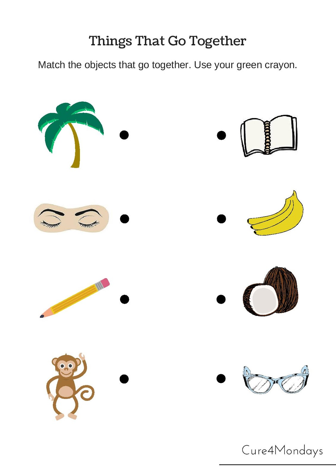 Worksheet Thing That Go Together freeschool free printable kindergarten lessons cure for mondays click the lesson and print