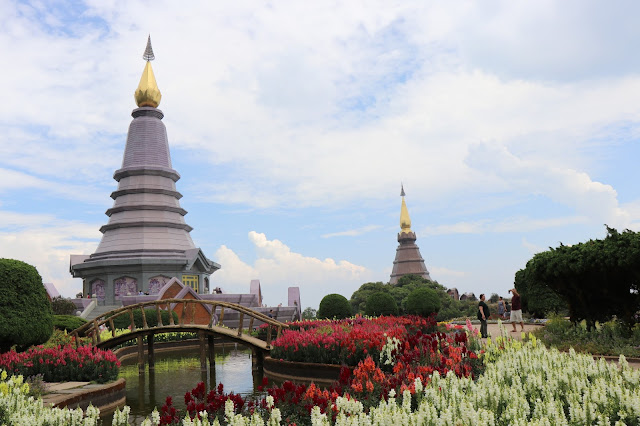 View of the Twin Pagodas from the garden next to the Queen's Pagoda