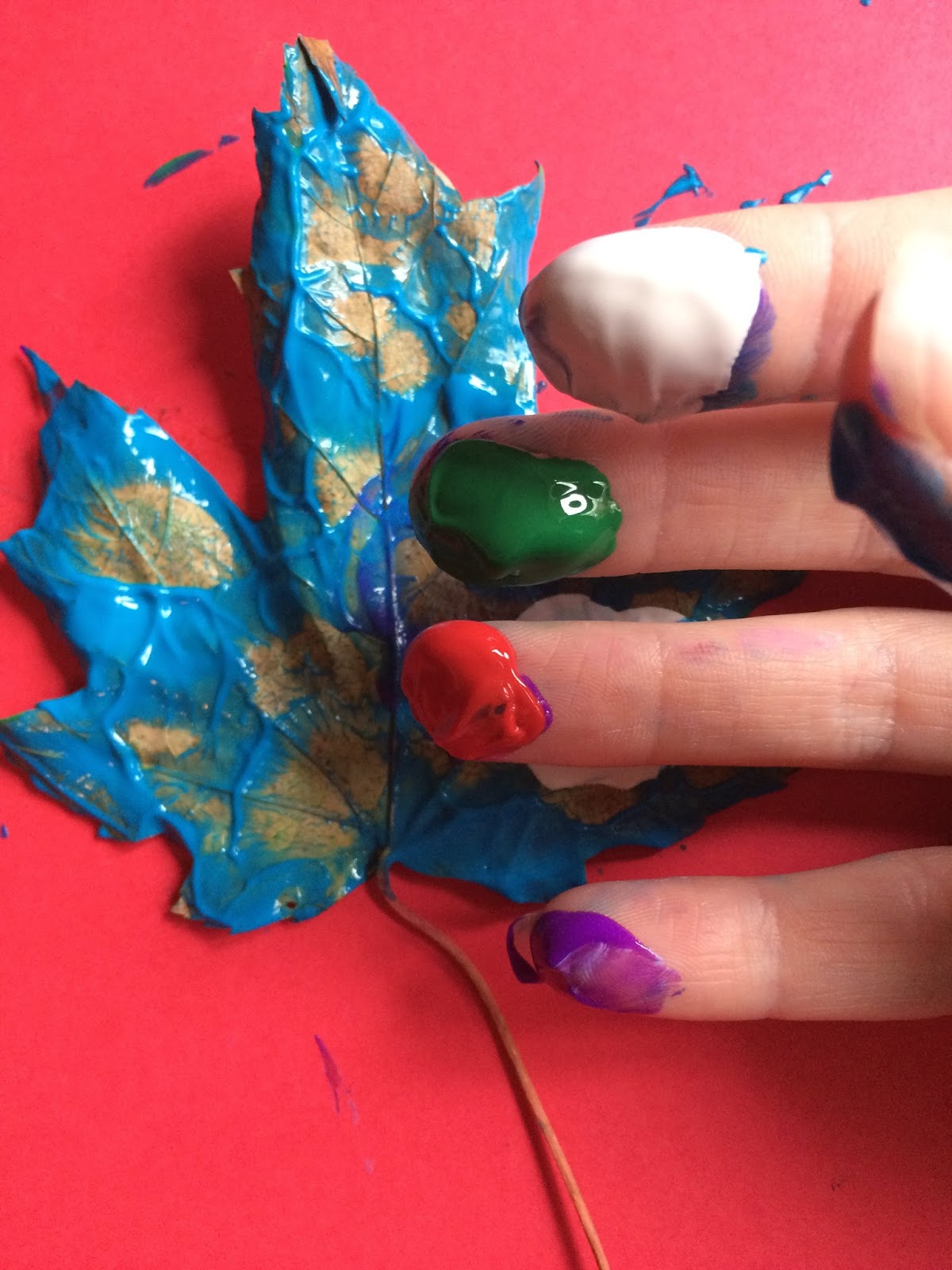 Mini Monets And Mommies Fall Leaf Finger Paint Art
