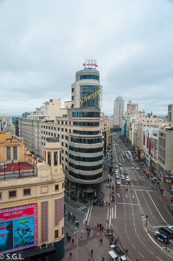 Edificio Schweppes y Gran Via en Madrid