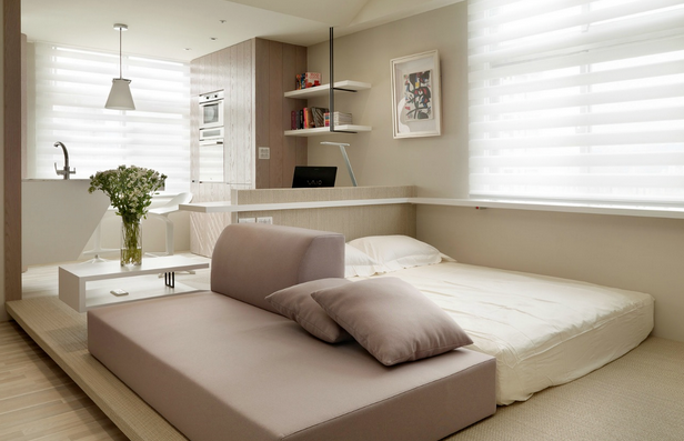A small apartment with a beautiful blend of soft colors