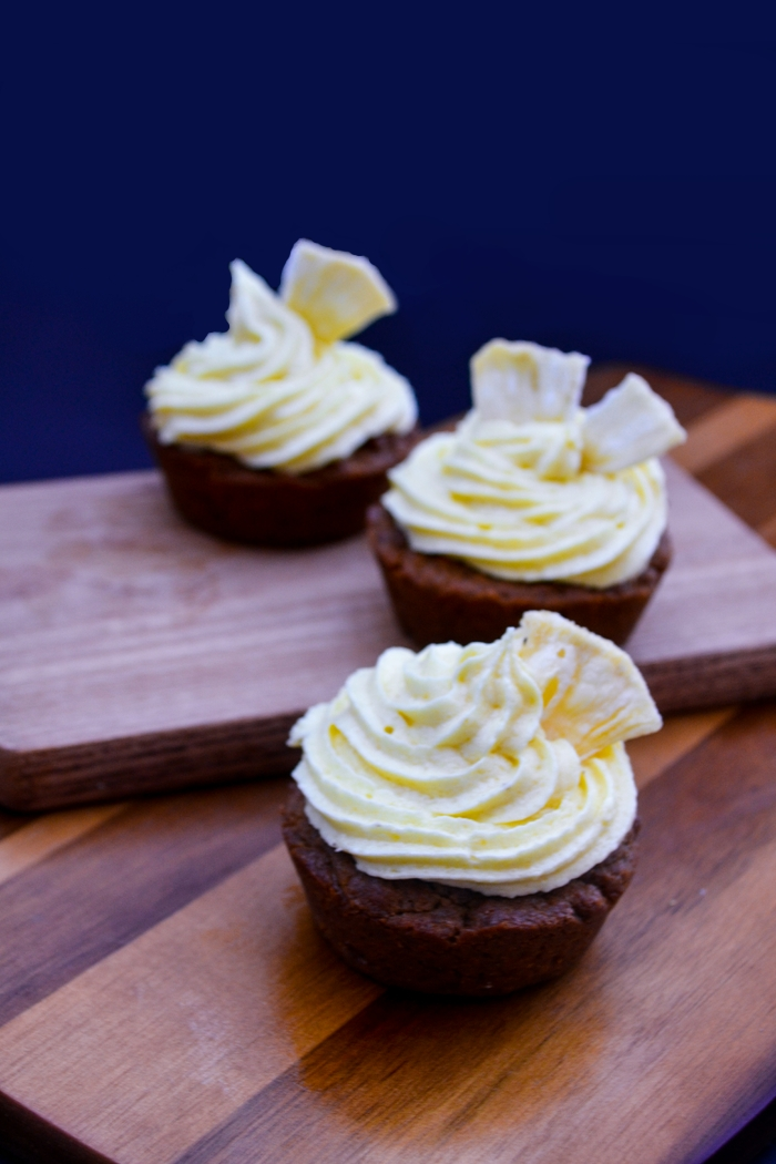 Vegan Gingerbread Cupcakes with Pineapple Frosting