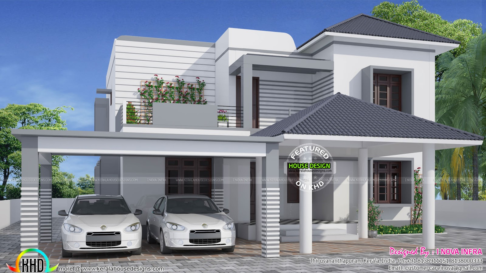 Simple and elegant modern house kerala home design and for Modern house grill design
