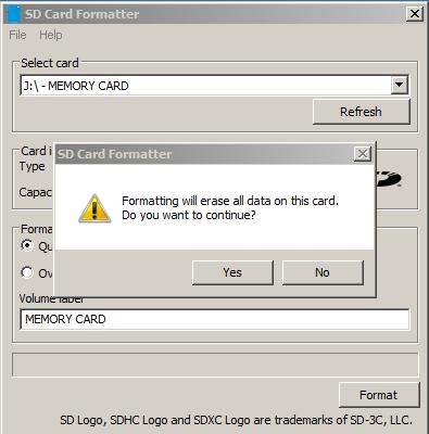 كيف تفرمت الميموري كارد المعطوبة وتعيدها إلى وضع المصنع عبر برنامج SD Memory Card Formatter