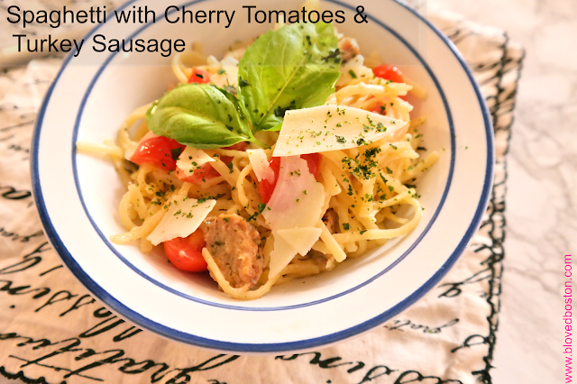 Spaghetti with Cherry Tomatoes and Turkey Sausage