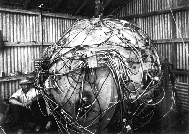 "Exposed wiring of ""The Gadget,"" the nuclear device that exploded as part of Trinity, the first test of an atomic bomb. At the time of this photo, the device was being prepared for its detonation, which took place on July 16, 1945."
