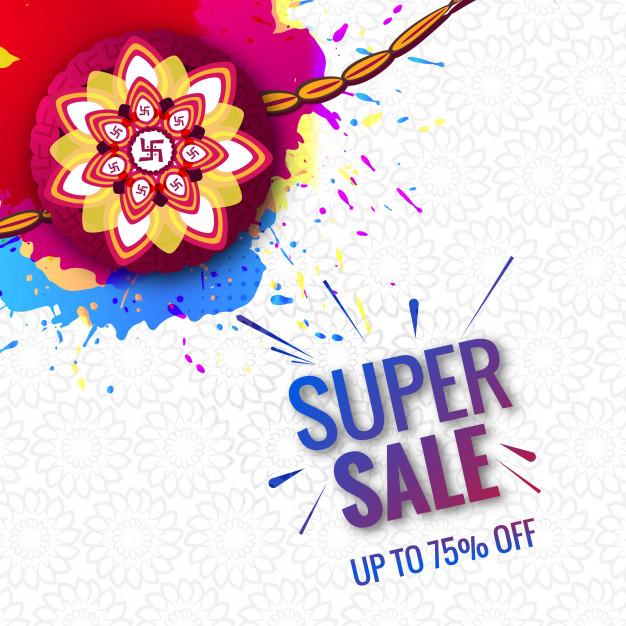 Beautiful festival Raksha Bandhan super sale concept Free Vector
