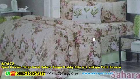 Sprei Custom Katun Lokal Sahara Bunga Shabby Chic And Vintage Putih Dewasa