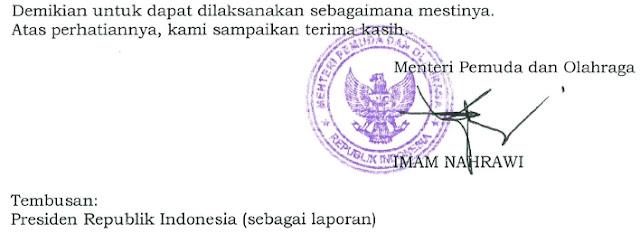 Surat Edaran Nomor : 10.13.1/MENPORA/X/2017