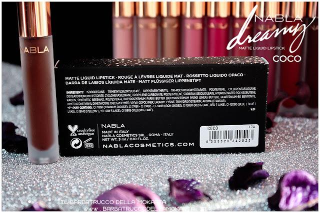 coco Dreamy Matte Liquid Lipstick rossetto liquido nabla cosmetics inci