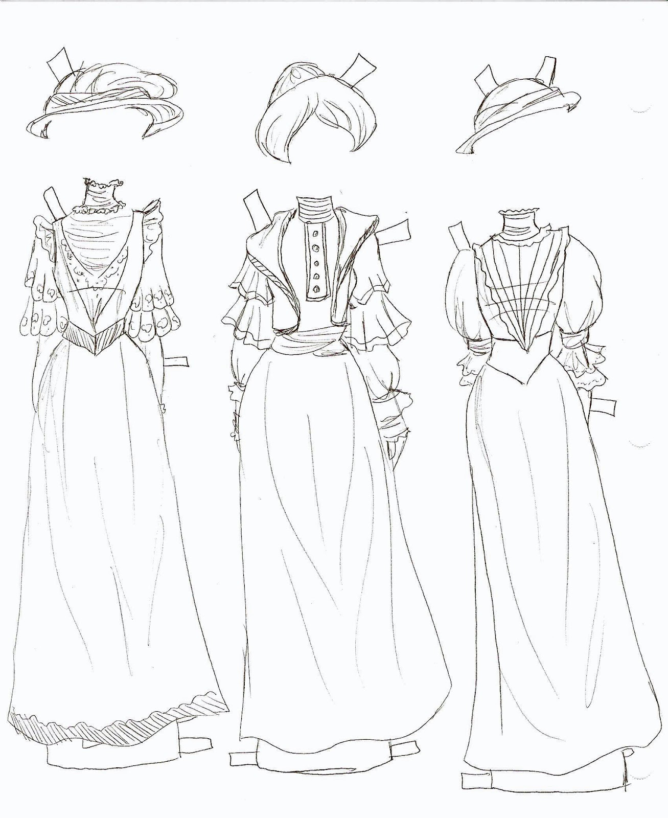 Miss Missy Paper Dolls Betsy Jane Gowns 6
