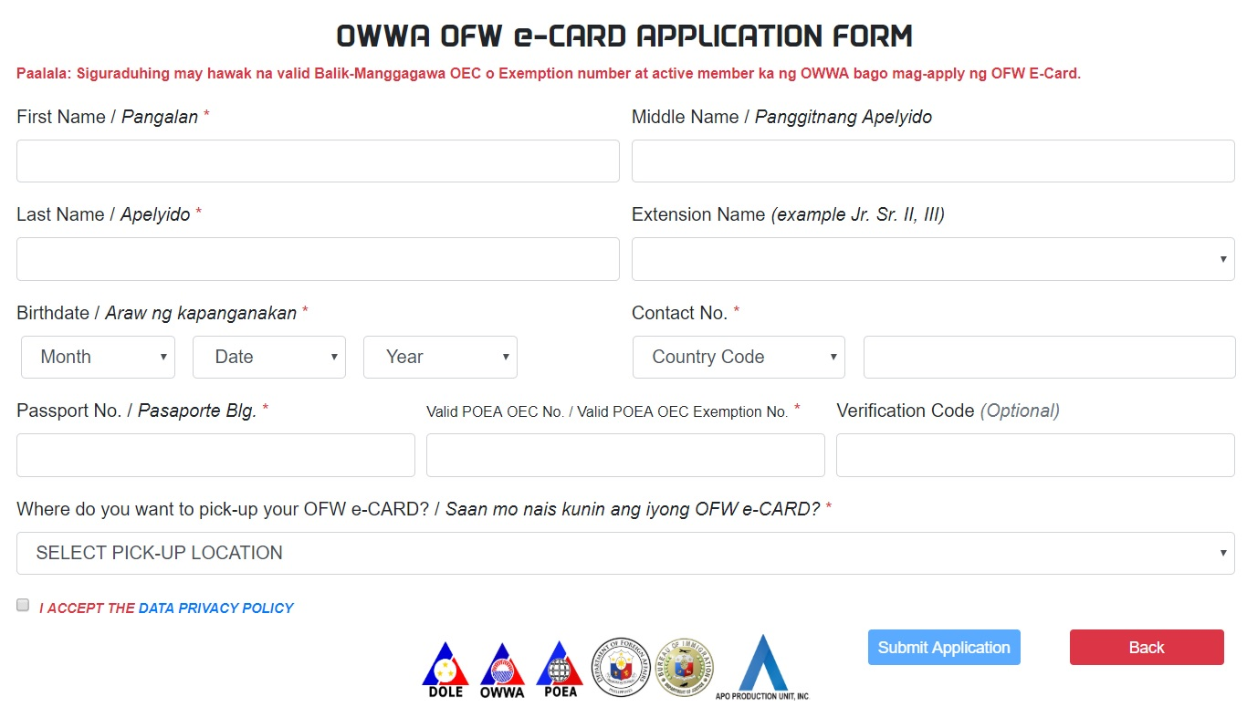 How to apply for OFW E-card online
