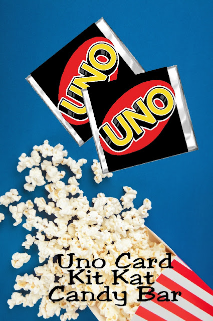 Get your game on with these fun Uno card candy bar wrappers. Wrappers fit a regular Kit Kat bar and are a great addition to your next game night party. #uno #gamenight #candybarwrapper #partyprintable #diypartymomblog