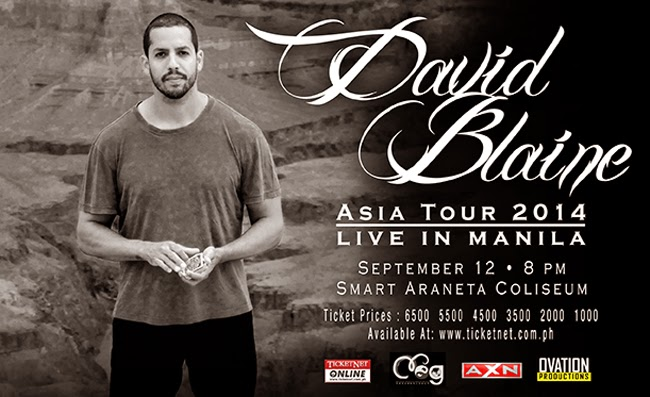 David Blaine will Perform in Manila Philippines on September 12, 2014