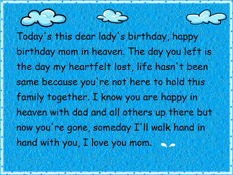 Mom In Heaven Birthday Quotes For Facebook Status