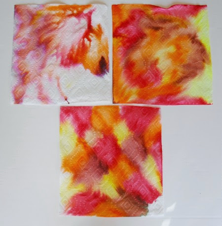 marker marbled paper towels for leaf project