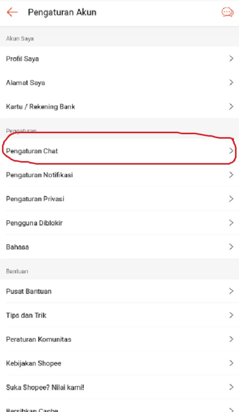 Klik Pengaturan Chat di Shopee
