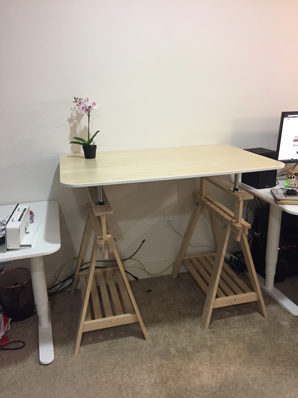 Short Blue Sky New Diy Standing Desk With Ikea Parts