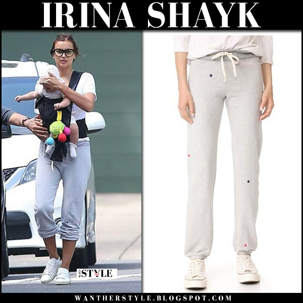 Irina Shayk in grey star print sweatpants sundry september 5 2017 street fashion