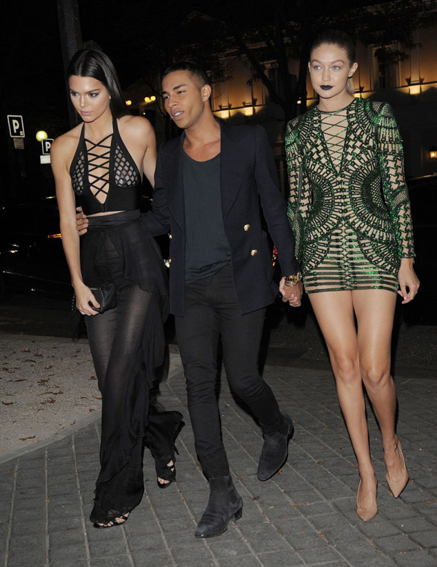 Kendall Jenner with Olivier Rustina and Gigi Hadid