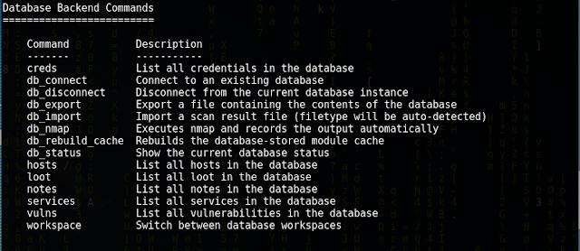 msfconsole database