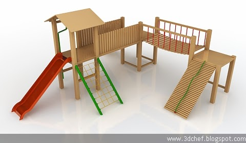 wooden playground 3d model free
