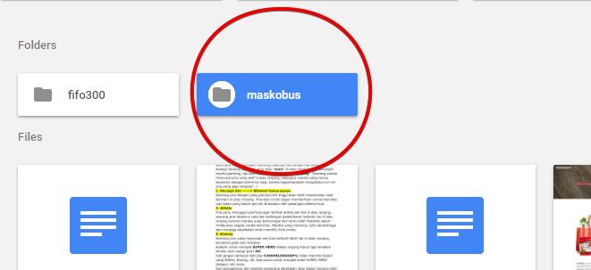 Penempatan folder di google drive