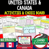 United States Activities, Canada Activities, World Geography Graphic Organizers, World Geography Digital Interactive Notebook, World Geography Summer School, World Geography Google Activities