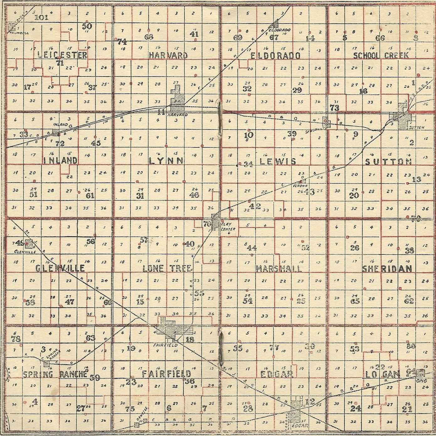 Nebraska Map By County.Sutton Nebraska Museum 1930 1931 Clay County Rural School Map