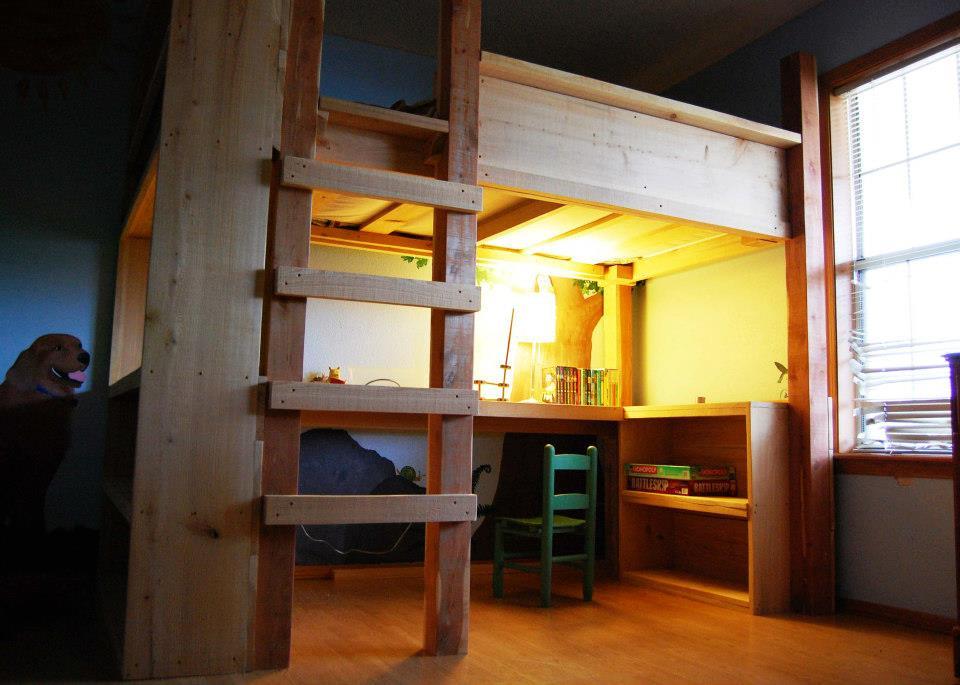 Natural State Treehouses Inc Loft Bed  Desk