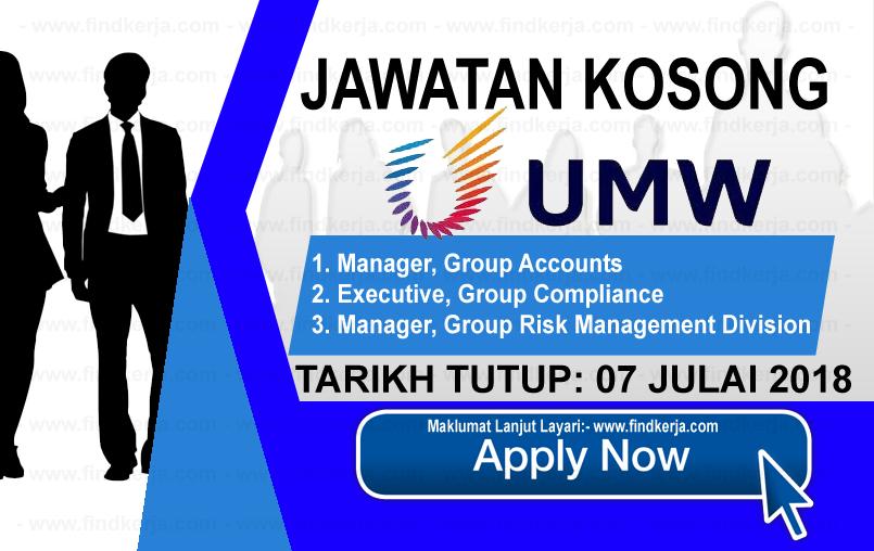 Jawatan Kerja Kosong UMW Corporation Sdn Bhd logo www.findkerja.com www.ohjob.info julai 2018
