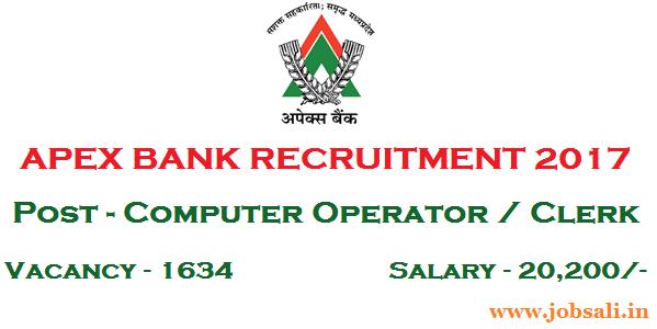 Apex Bank Clerk Recruitment 2017, Bank Jobs 2017, Computer Operator jobs in Banks