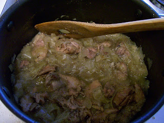 Stewing meat with onion.