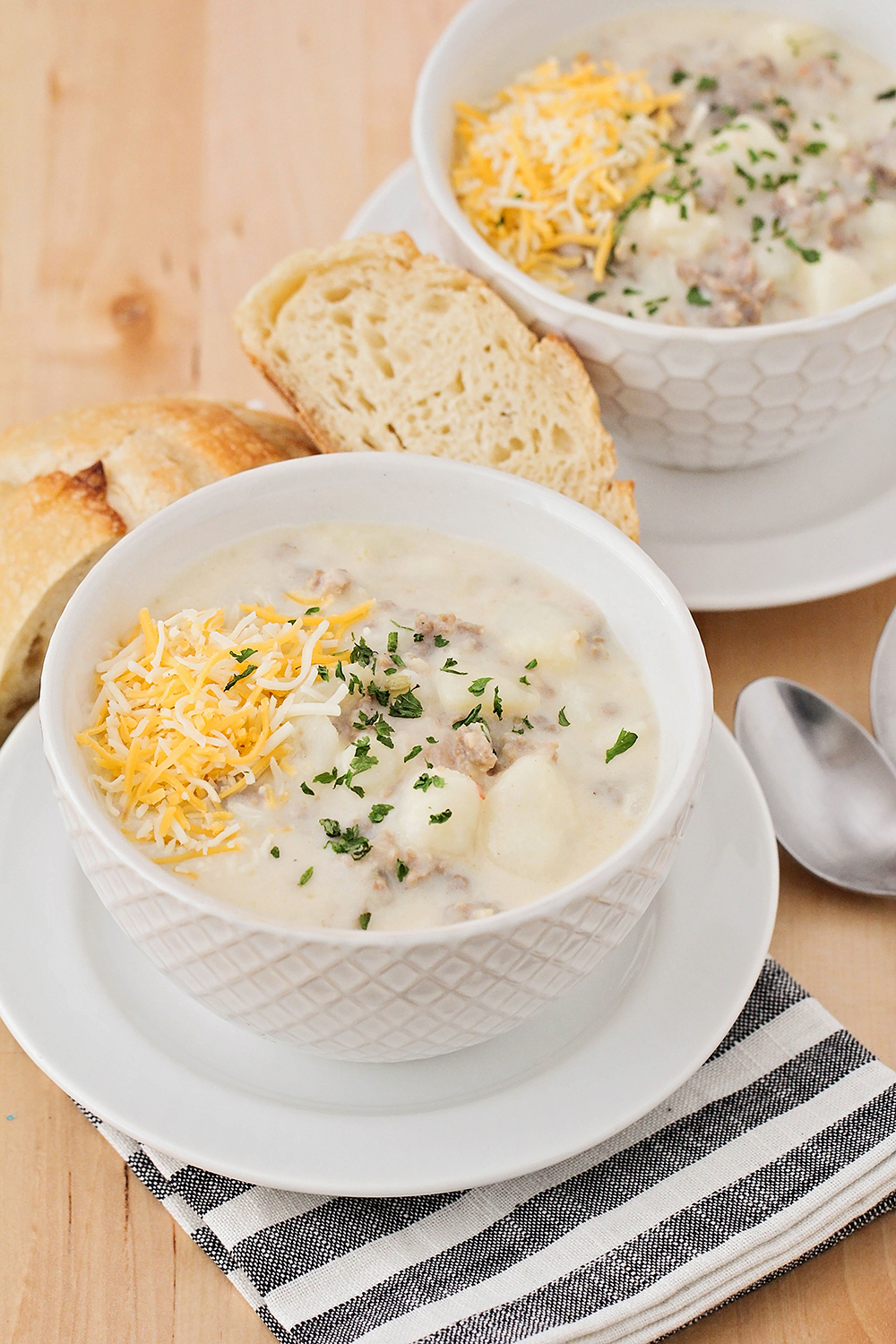 This cheesy sausage and potato chowder is a hearty and filling meal that's perfect for a cold night!