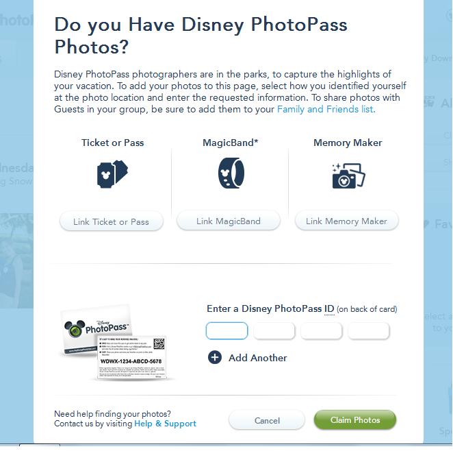 Site da Disney photopass