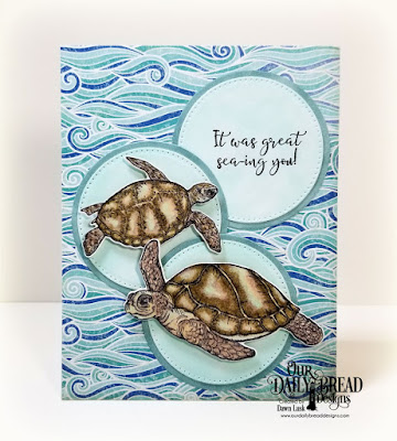Our Daily Bread Designs Stamp/Die Duos: Turtle Love, Paper Collection: By The Shore,  Custom Dies: Circles, Pierced Circles