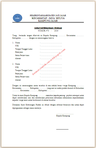 Surat Pernyataan Pindah Alamat : surat, pernyataan, pindah, alamat, Contoh, Surat, Keterangan, Pindah, Tempat, Tinggal