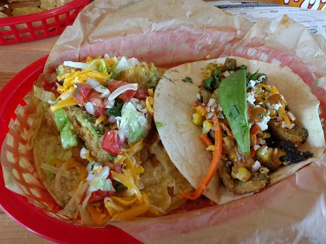 Fried avocado and mushroom tacos at Torchys Tacos in Amarillo