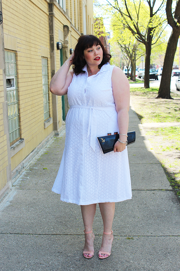 Plus Size Blogger Amber from Style Plus Curves in a White Eyelet Plus Size Dress from Jessica London on Fullbeauty.com
