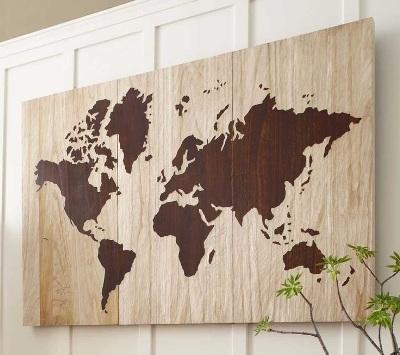 Wooden World Map Art.