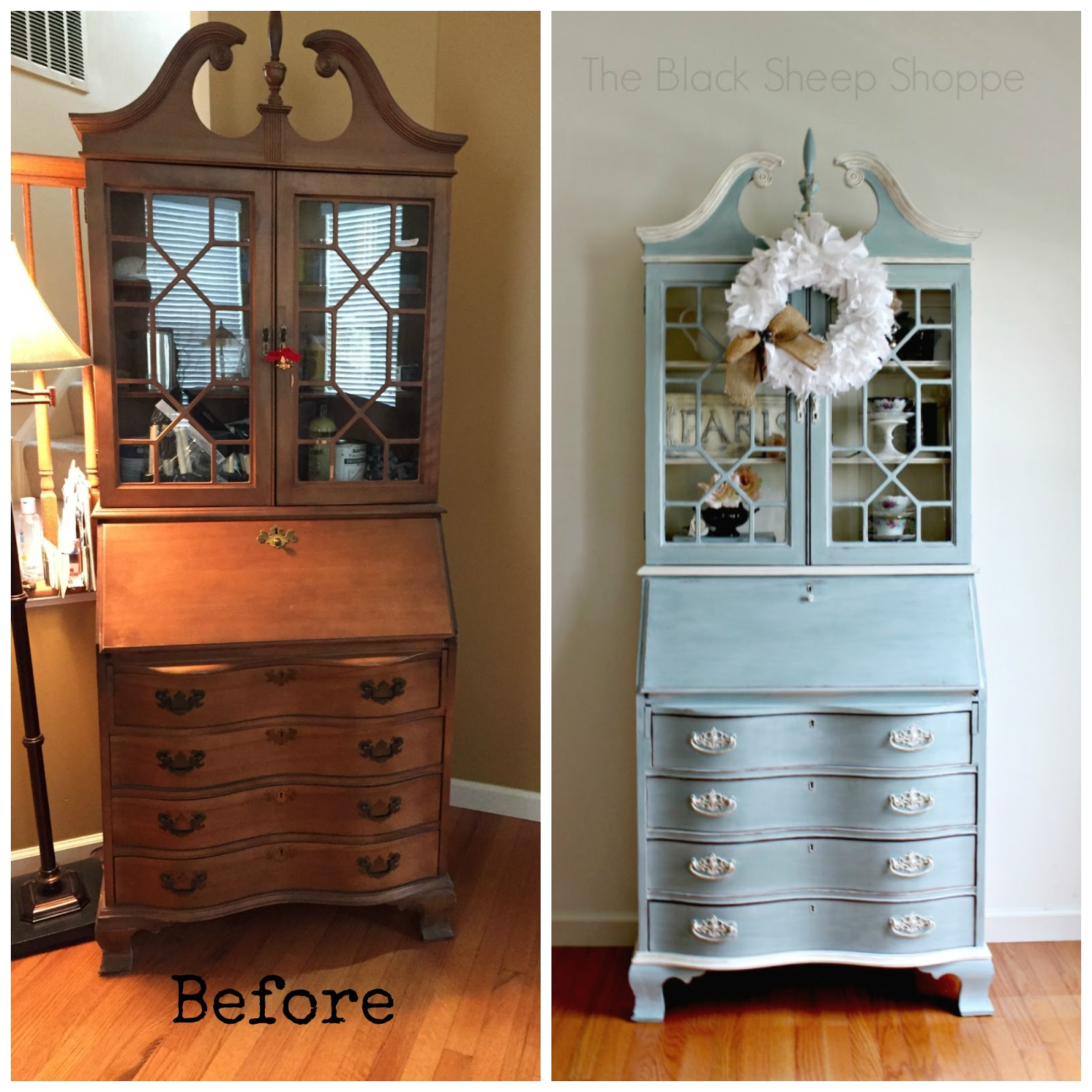 Before and after painted secretary desk.
