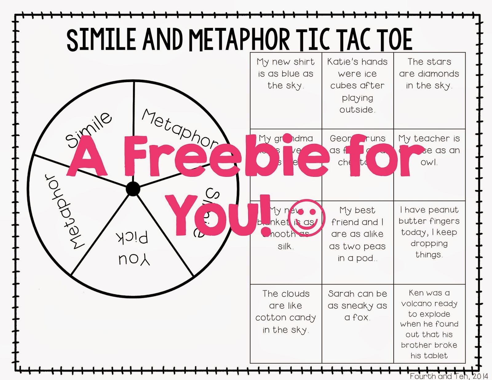 Fourth And Ten Similes And Metaphor Activities On Tpt And