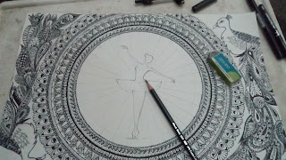 Ballerina Dancer With Peacock Detail Doodling  image