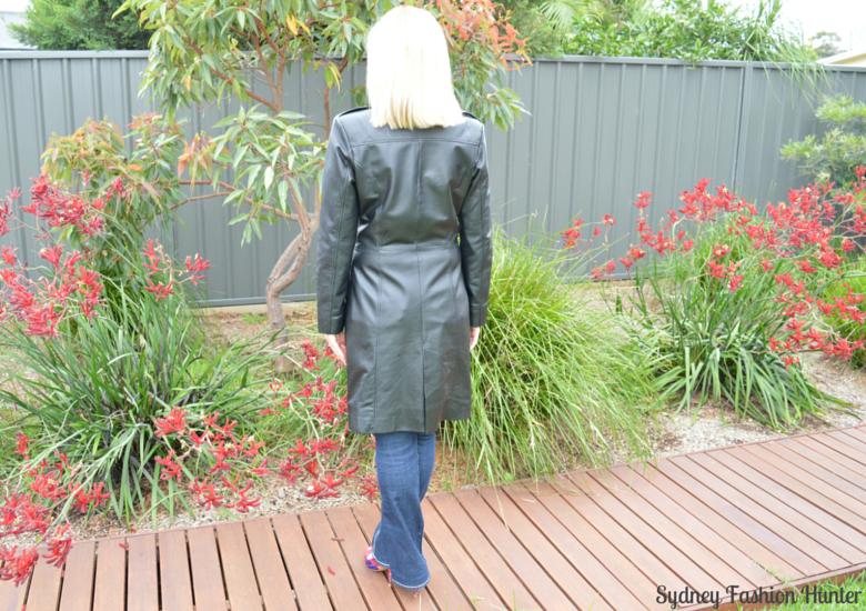 Long Black Leather Coat, True Relision Jeans, Nine West Floral Pumps