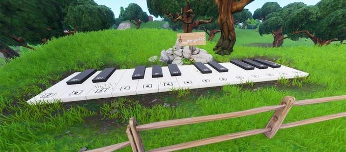 Confira a localização da Partitura e do Piano perto do Parque Agradável e da Cabana Solitária no Fortnite