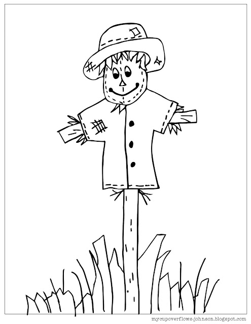 free fall coloring pages scarecrow
