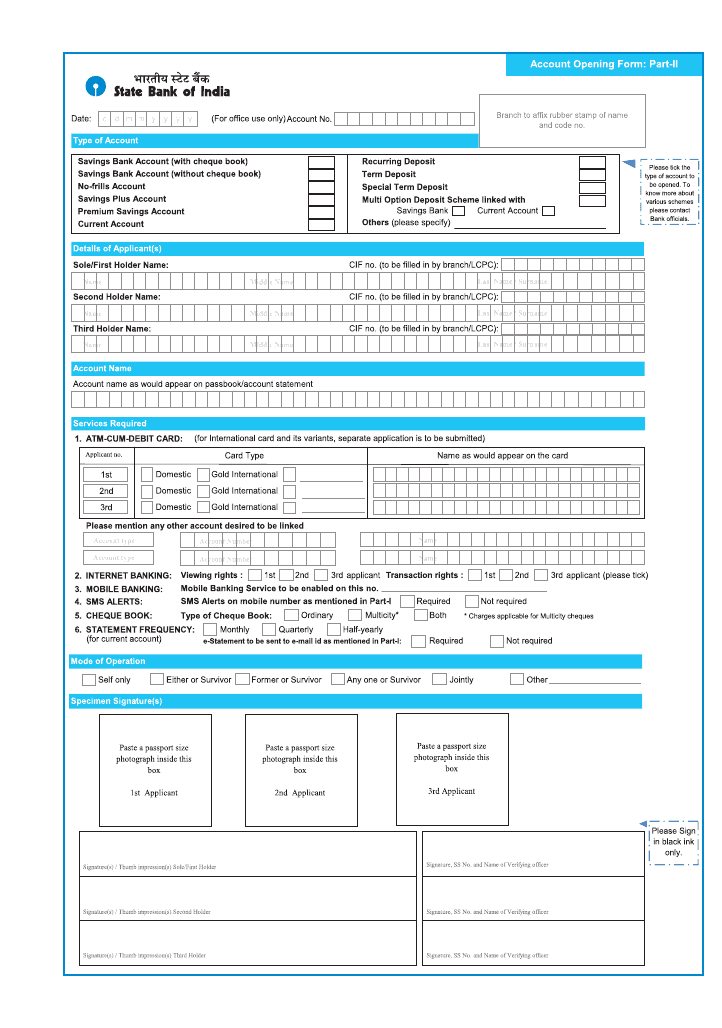 SBI SAVING ACCOUNT OPENING FORM EBOOK DOWNLOAD