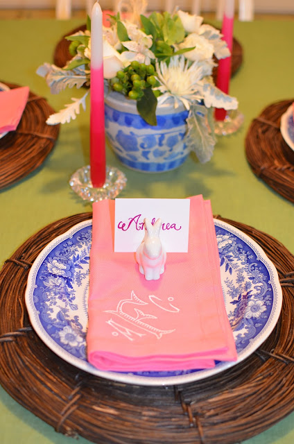 pink and green; Easter table; easter tablescape; easter dinner